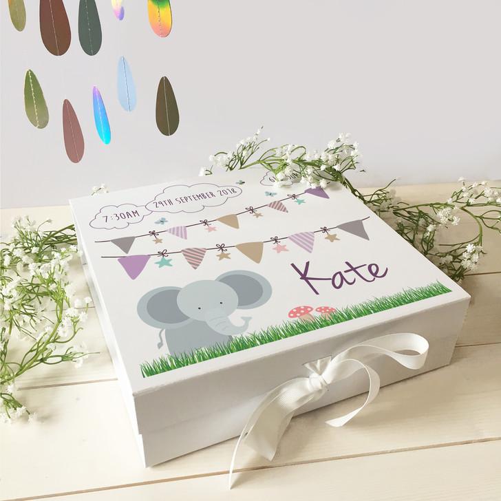 Personalised Baby Elephant Keepsake Memory Gift Box For New Parents