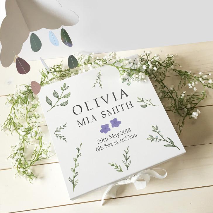 Personalised New Baby Keepsake Botanical Memory Gift Box For New Parents