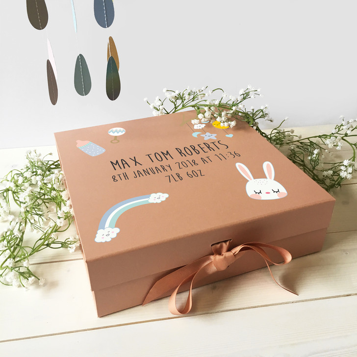 Personalised Baby Keepsake Memory Gift Box, Ideal For New Parents