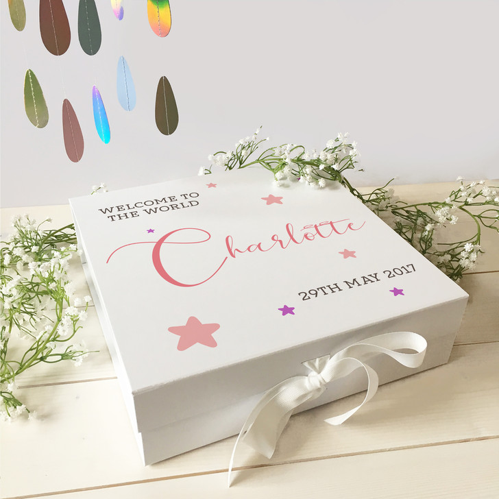 Personalised Welcome To The World Keepsake Memory Gift Box For New Baby