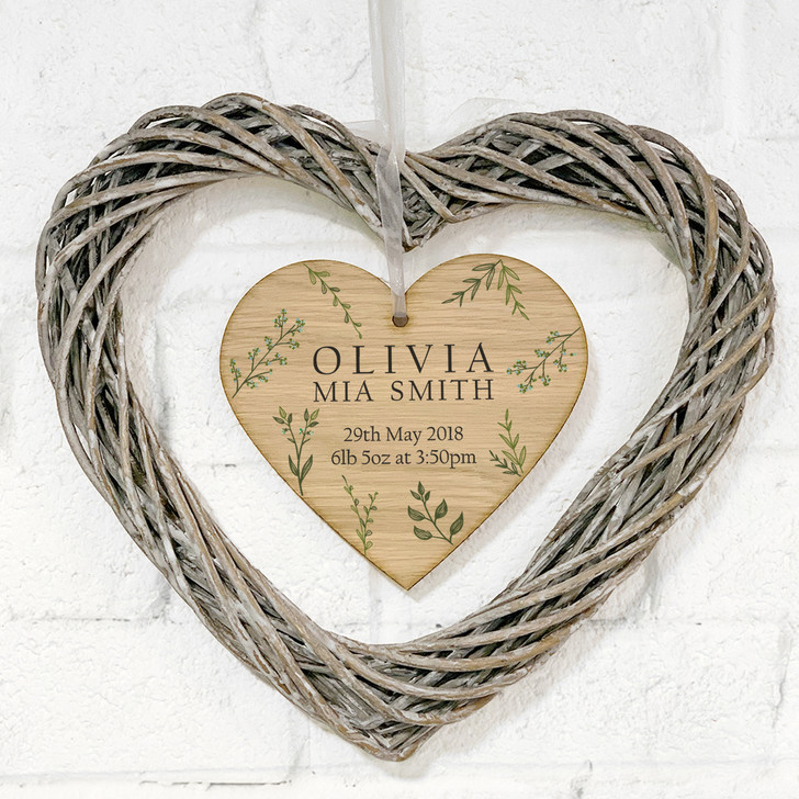 Personalised New Baby Hanging Botanical Wicker Heart Wreath Gift