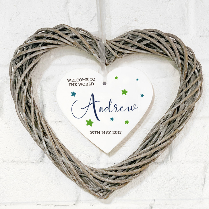 Personalised Welcome To The World Hanging Wicker Heart Wreath Gift For New Baby