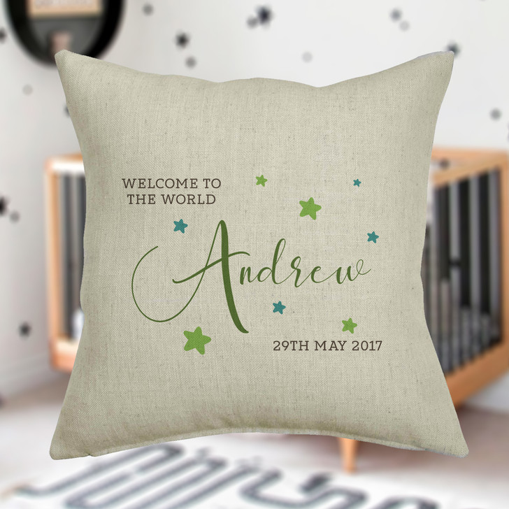 Personalised Welcome To The World New Baby Cushion Cover
