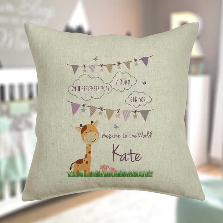 Personalised Baby Giraffe Linen Cushion Cover For New Baby