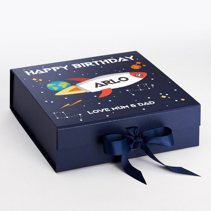Personalised Space Rocket Birthday Gift Box For Boys