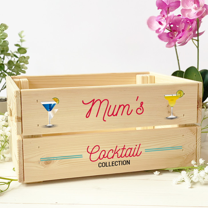 Personalised Cocktail Collection Wooden Crate Gift Box For Her
