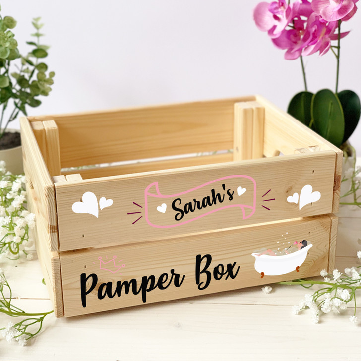 Personalised Pamper Hamper Wooden Crate Gift Box For Her
