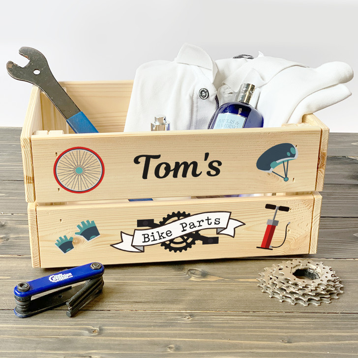Personalised Bike Parts Wooden Storage Crate, Gift For Him