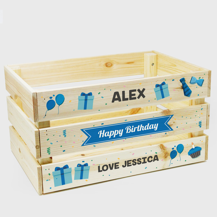 Personalised Happy Birthday Wooden Crate Gift Box For Him