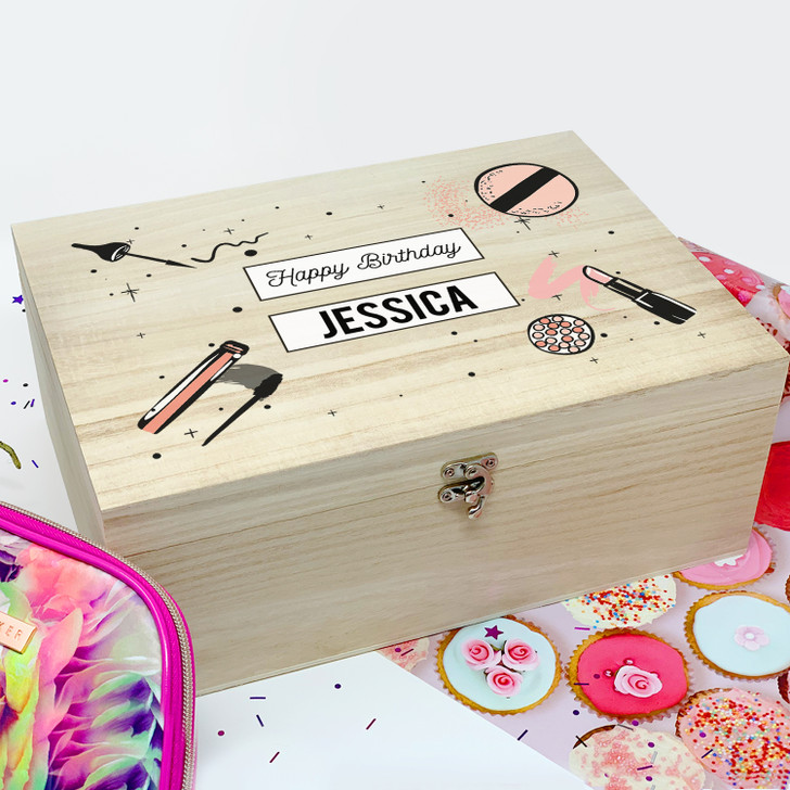 Personalised Makeup & Cosmetics Wooden Birthday Gift Box For Her