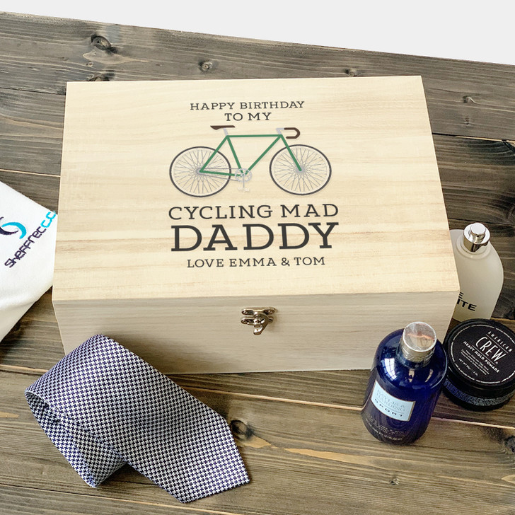 Personalised Cycling Mad Wooden Birthday Gift Box For Dad