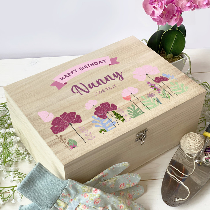 Personalised Floral Wooden Keepsake Box Birthday Gift For Her