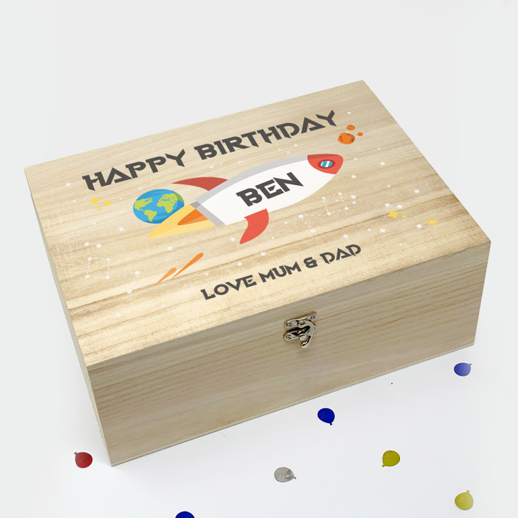 Personalised Space Rocket Wooden Birthday Box Gift For Boys