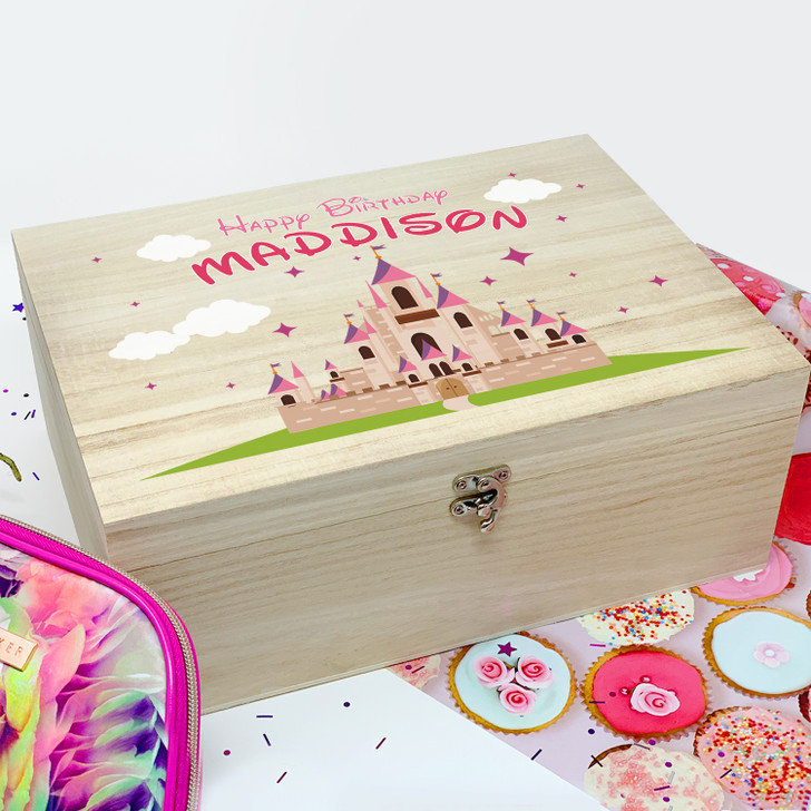 Personalised Fairytale Princess Castle Wooden Box, Birthday Gift For Girls