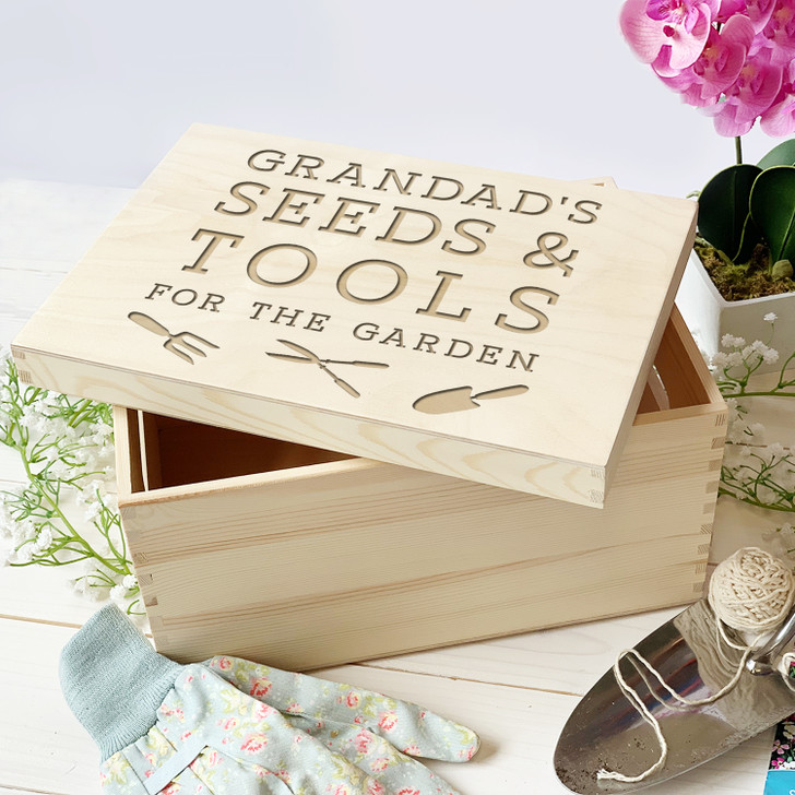 Personalised Garden Seeds and Tools Wooden Storage Box