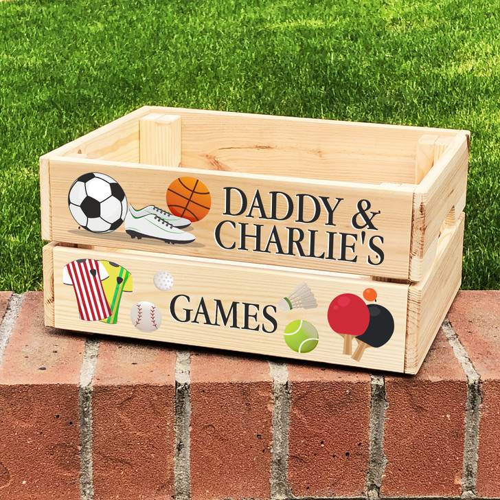 Personalised Sports Games Toy Box For Kids, Birthday or Father's Day Gift