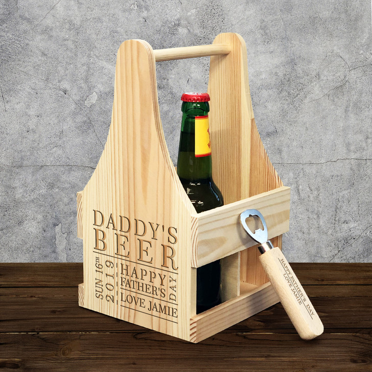 Personalised Beer Caddy Box Carrier & Bottle Opener, Engraved Father's Day Gift