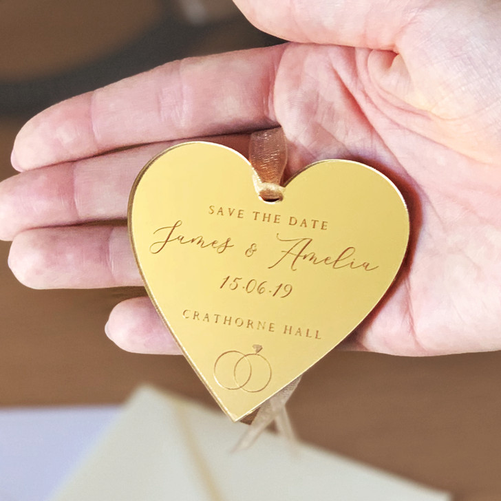 Gold Mirror Save The Date Personalised Hanging Heart Tags