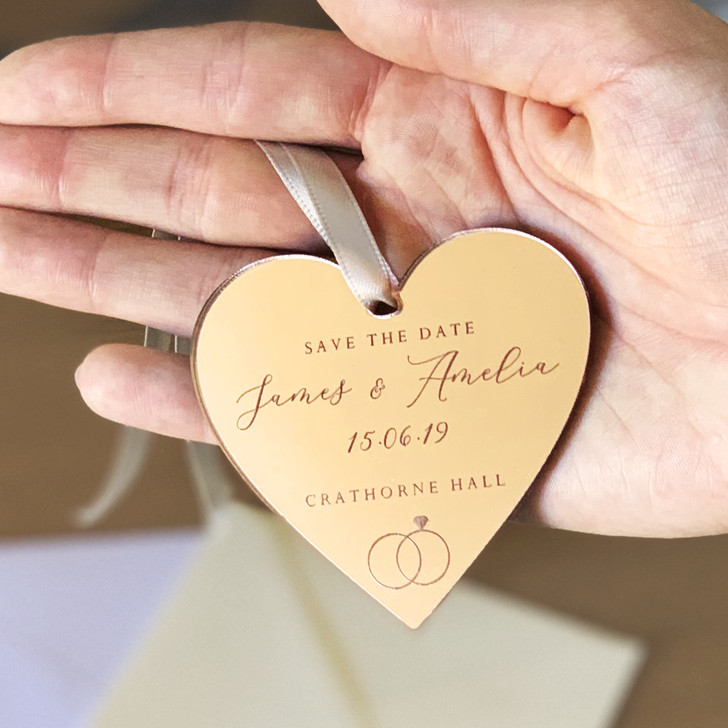 Rose Gold Mirror Save The Date Personalised Hanging Heart Tags