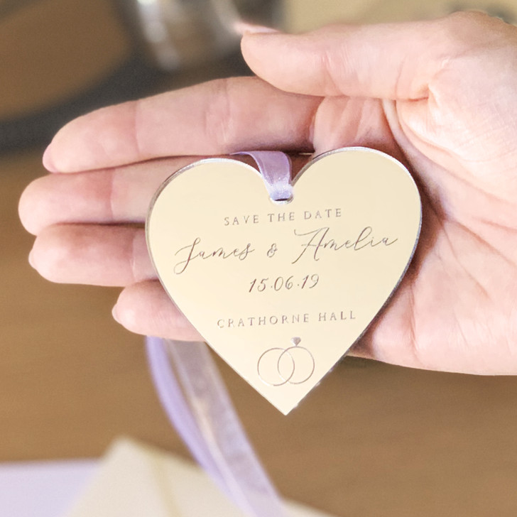 Silver Mirror Save The Date Personalised Hanging Heart Tags
