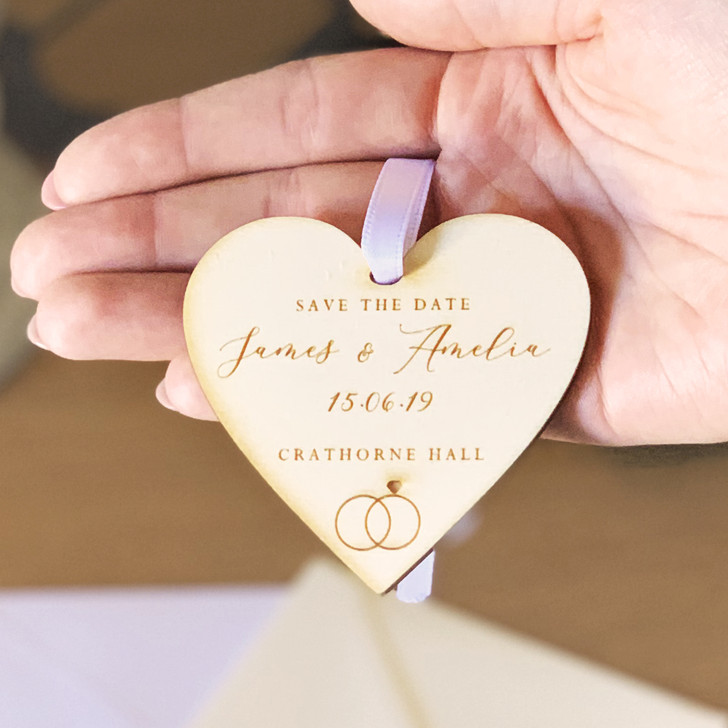 Wooden Save The Date Personalised Rustic Hanging Heart Tags