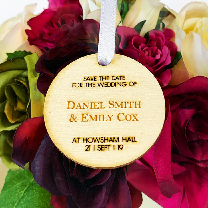 Wooden Save The Date Personalised Hanging Tags