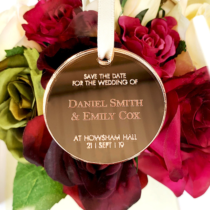 Save The Date Personalised Hanging Rose Gold Silver Mirror Tags