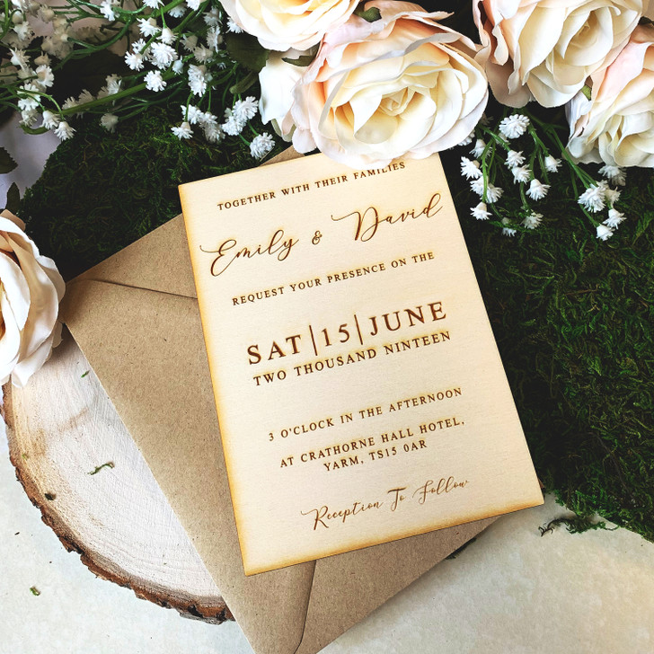 Rustic Wooden Personalised Wedding Invitation, Engraved Wedding Invites