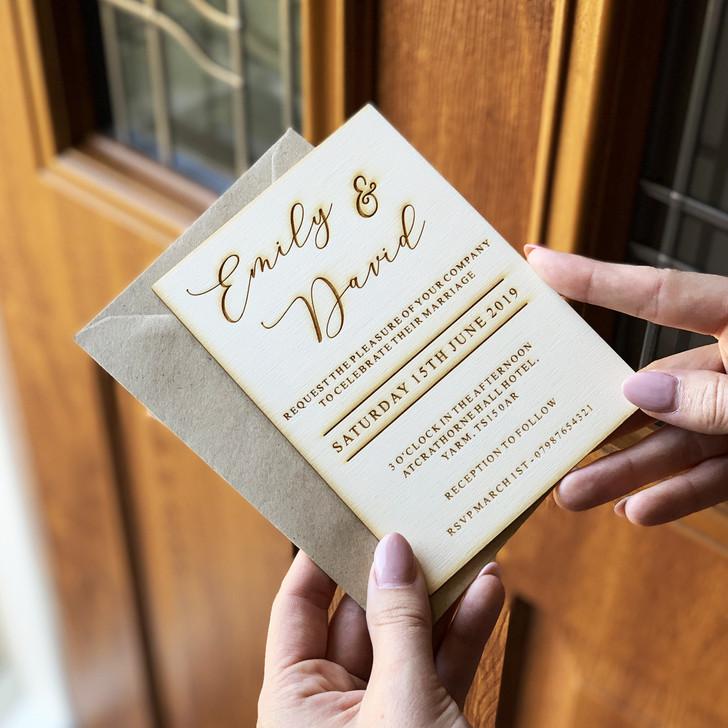 Rustic Wooden Personalised Engraved Wedding Invitation