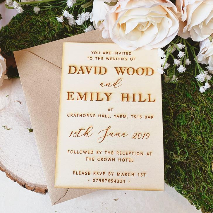 Rustic Personalised Wooden Engraved Wedding Invitations