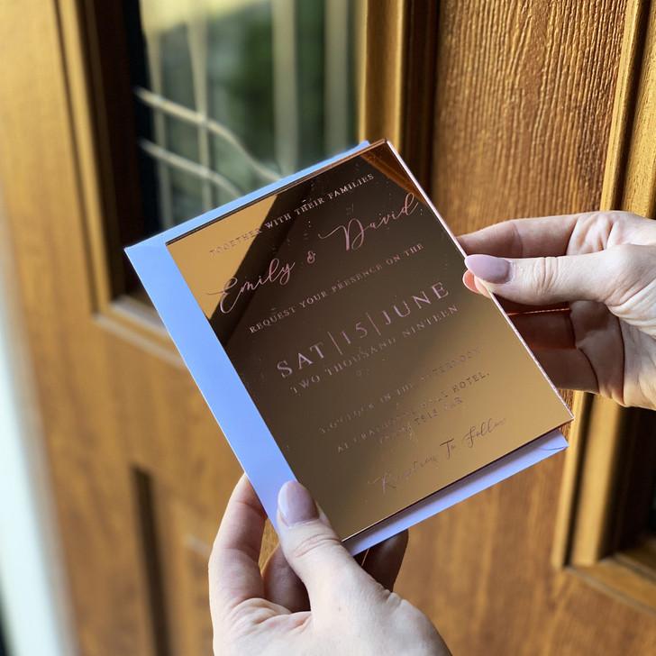 Custom Acrylic Wedding Invites in Mirror Finish With Envelopes