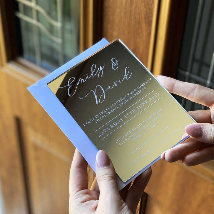 Personalised Mirror Wedding Invites, Rose Gold, Gold or Silver Invitations
