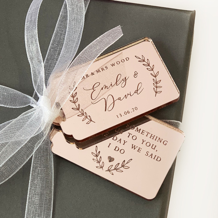 Rose Gold Personalised Wedding Favour Tags, Thank You For Sharing Our Day