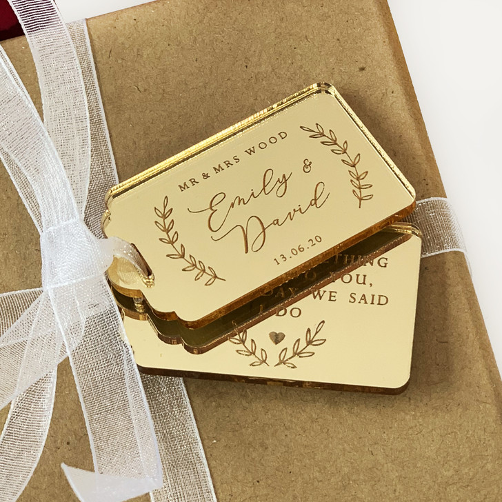 Gold Personalised Wedding Favour Tags, Thank You For Sharing Our Day