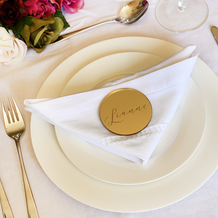 Gold Mirror Acrylic Personalised Name Place Cards For Wedding Table Settings