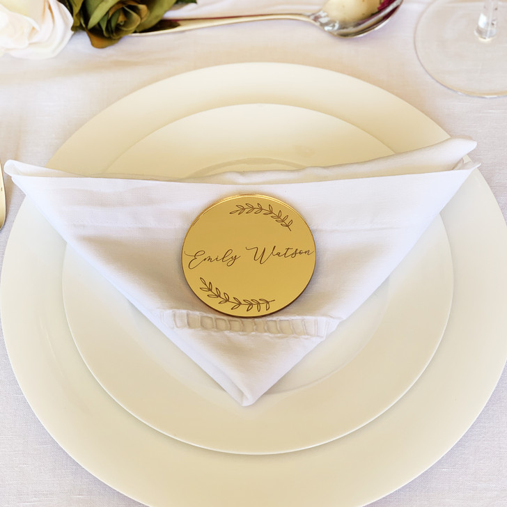 Gold Mirrored Personalised Name Place Card For Wedding Table Settings