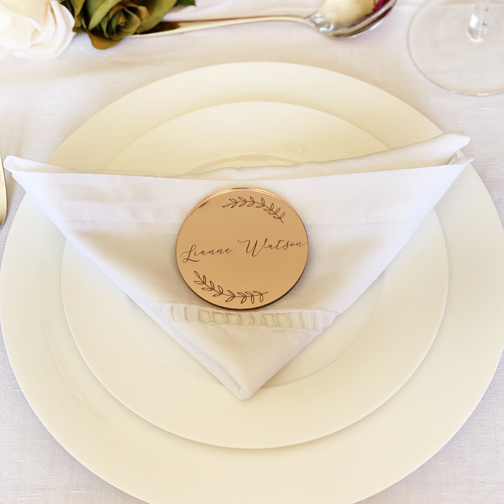 Rose Gold Mirrored Personalised Name Place Card For Wedding Table Settings