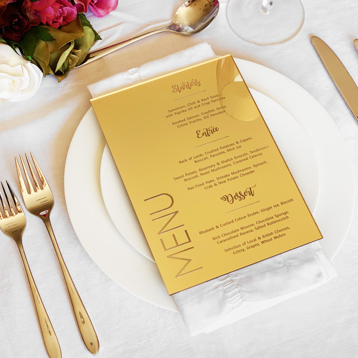 Personalised Bespoke Wedding Table Menu, In Rose Gold, Gold or Silver Mirror Acrylic, Wedding Breakfast Menu