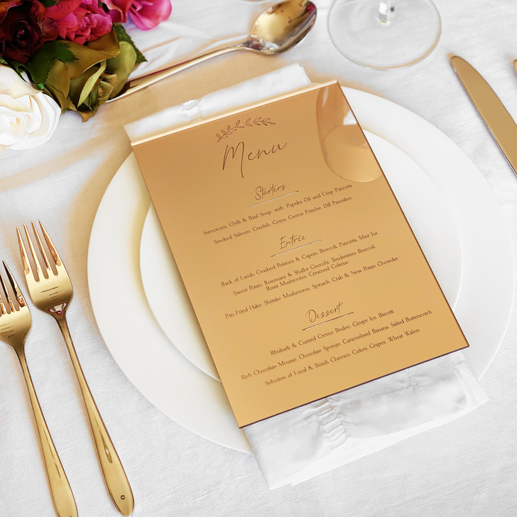 Personalised Wedding Table Menu, In Rose Gold, Gold or Silver Mirror Acrylic, Wedding Breakfast Menus