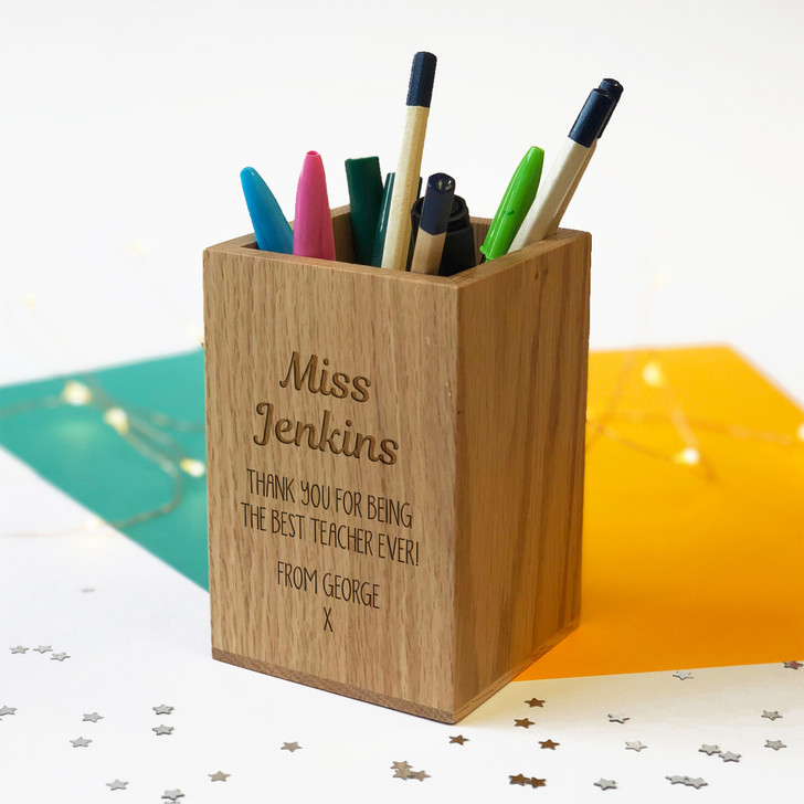 Personalised Oak Pencil Holder - Teacher Pen Pot Thank You Gift