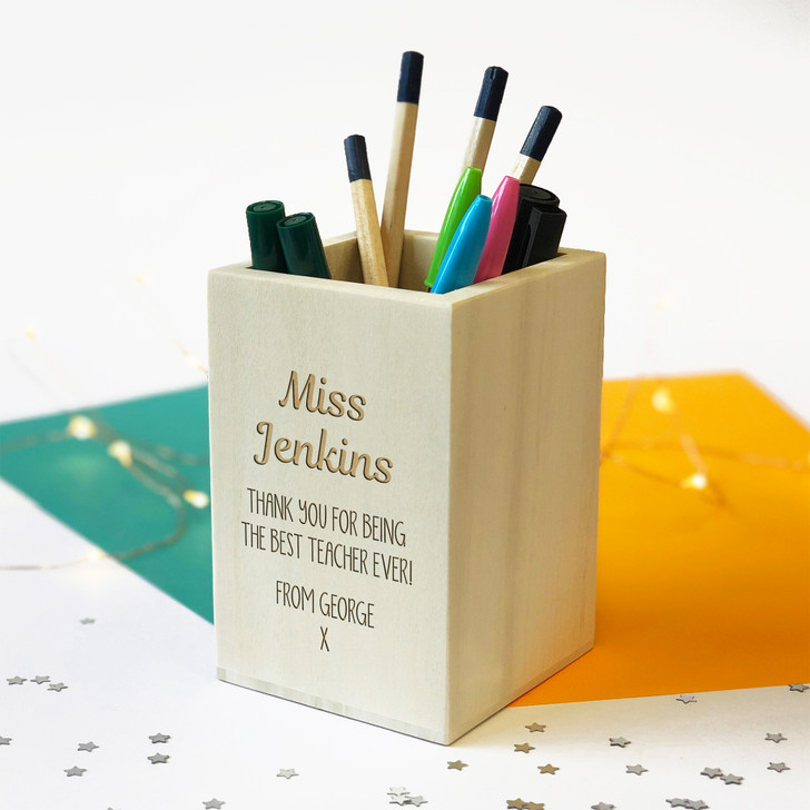 Personalised Wooden Pencil Holder - Teacher Pen Pot Thank You Gift