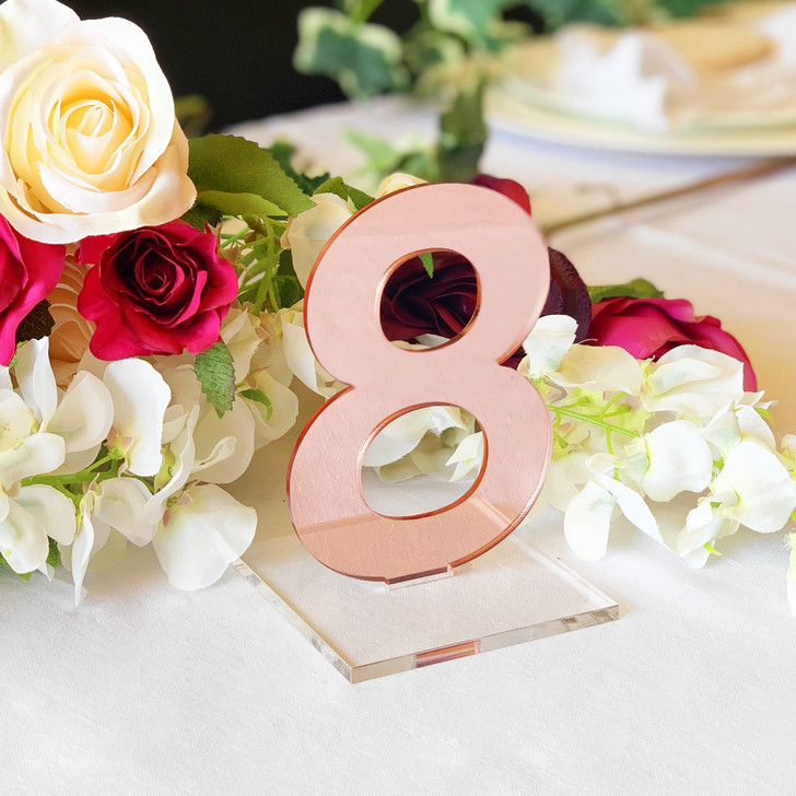 Rose Gold Mirror Acrylic Wedding Table Numbers