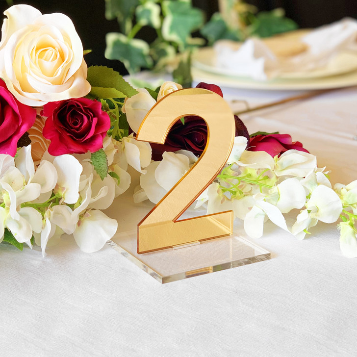 Gold Mirror Acrylic Wedding Table Numbers