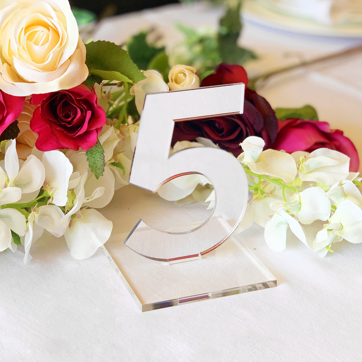 Silver Mirror Acrylic Wedding Table Numbers