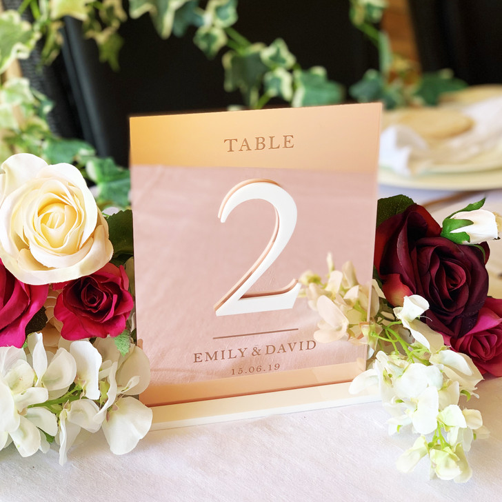 Personalised Wedding Table Numbers - Rose Gold, Gold or Silver Mirror Acrylic