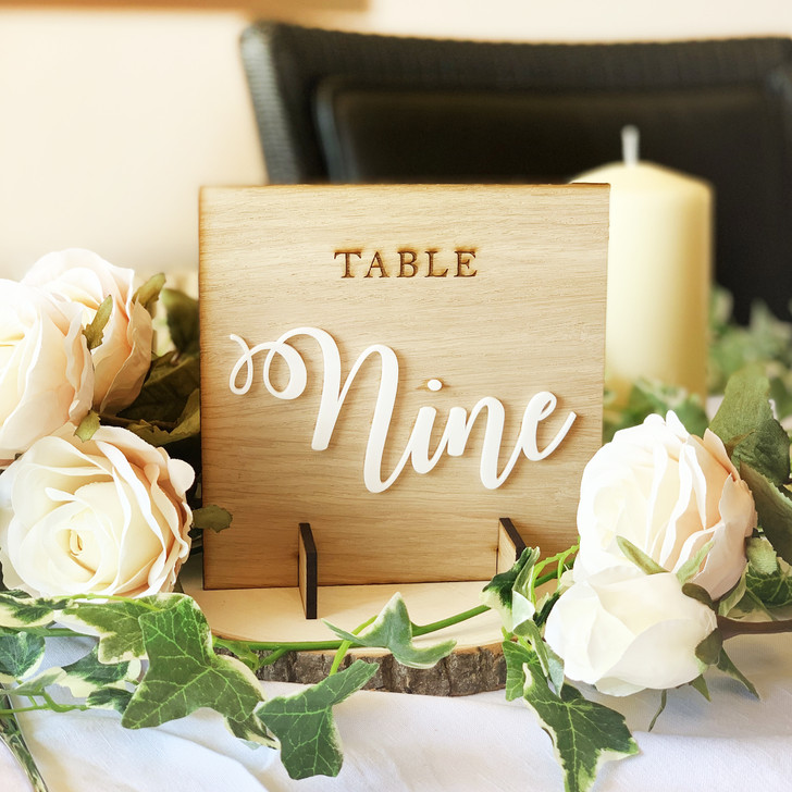 Rustic Styled Wooden Wedding Table Numbers - Oak & White Acrylic