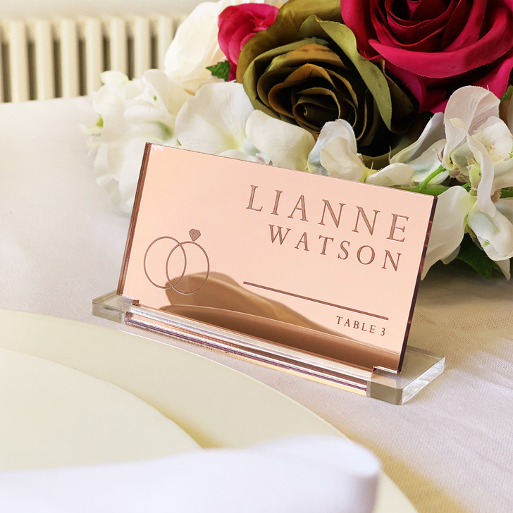 Personalised Rose Gold Mirror Acrylic Wedding Place Name Card