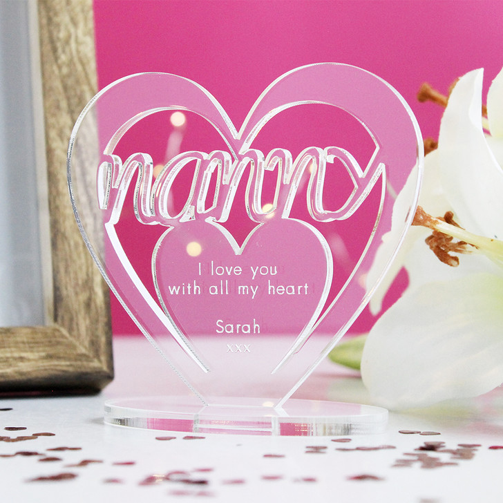 NANNY Personalised Birthday HEART Plaque Gift For Her Keepsake Ornament Christmas Present