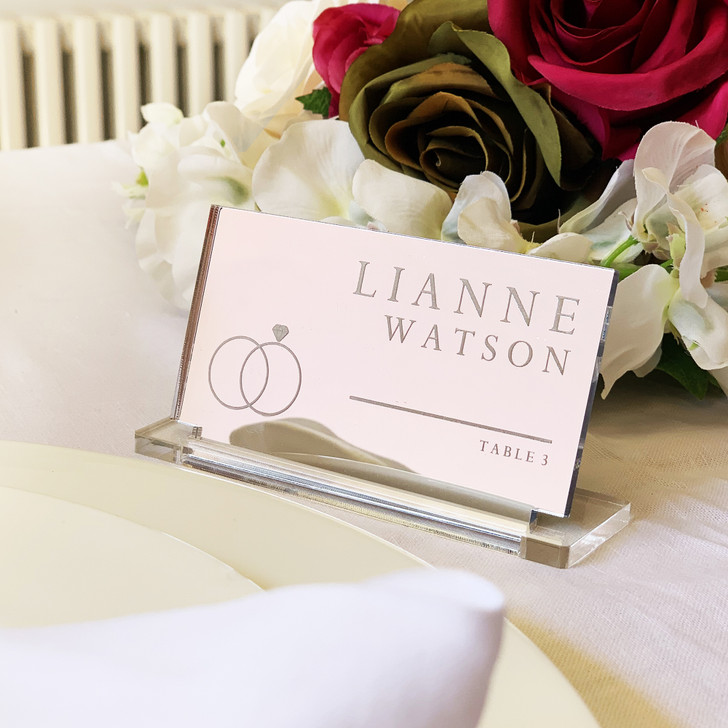 Personalised Silver Mirror Acrylic Wedding Place Name Card
