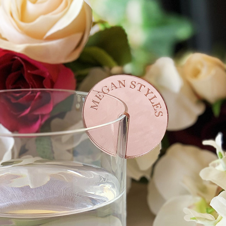 Personalised Rose Gold Mirror Acrylic Drink Token Charm For Weddings And Events